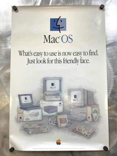 Apple Mac OS Friendly Face 1995 Poster Vintage  Macintosh