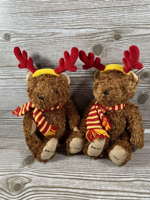 "Bon Macy's Set Of 2 Reindeer Bear Scarf Antlers Plush 9"" Christmas Holiday 2003"