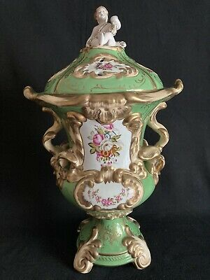 """Decorative Chelsea House Green And Parcel Gilt Urn With Putti Topped Lid  H.19"""""""