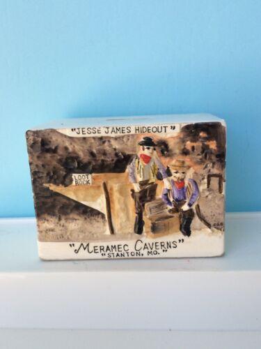 MERAMEC CAVERNS Ceramic Bank Jesse James Hide-out Stanton Missouri Vintage