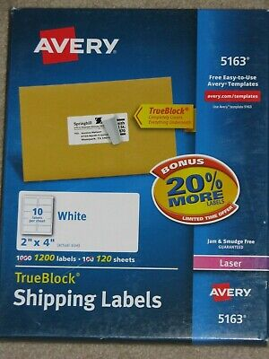 Avery True Block Shipping Labels 5163 Laser 120 Sheets 1200 Labels 2 X 4