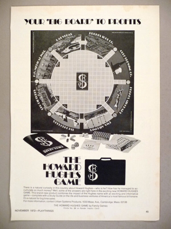The Howard Hughes Game PRINT AD - 1972 ~ Family Games