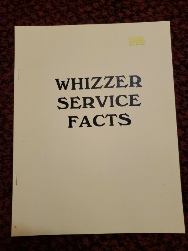 WHIZZER SERVICE FACTS MANUAL: REPRINT
