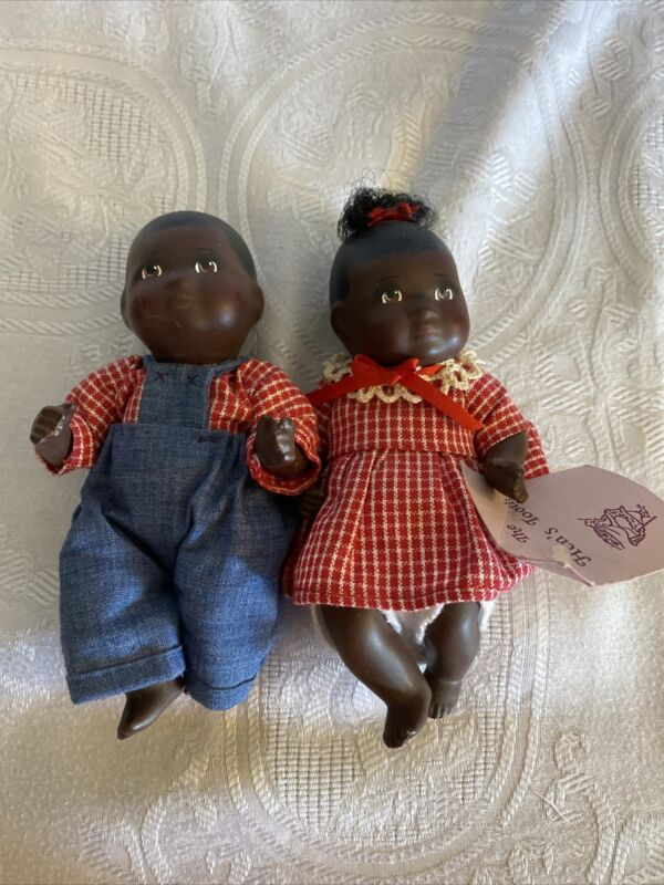"""""""The Hen's Tooth"""" Jointed AA Black """" 5 1/2 Porcelain Girl and Boy Dolls Set"""
