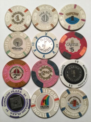 Lot Of 12 Casino Chips All Different