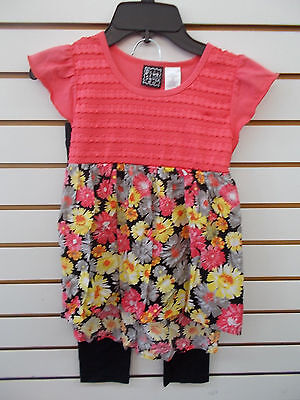 Girls Pogo Club  40 Coral   Floral Chiffon Legging Set W  Headband Sz 7 8 14 16