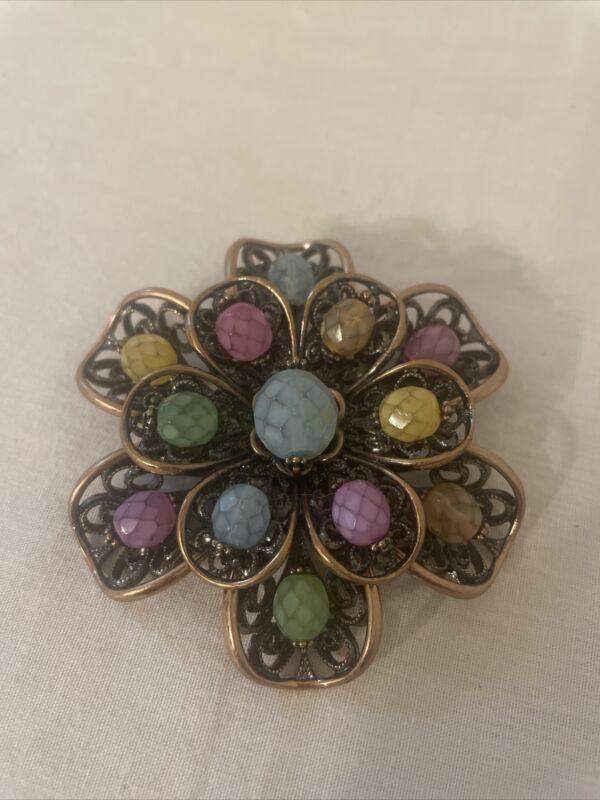 Joan Rivers Vintage Brooch Pastel Color Beads Stones