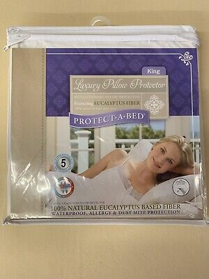 Protect-a-Bed Luxury Waterproof Pillow Protector King Size 2 Pack (Bed King Pillow Protector)