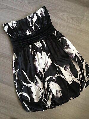 ✨ Süßes Cocktail Kleid Bandeau Von Jung+Stil Gr. 36 Floral Schwarz Weiß ✨ Floralen Stil Kleid