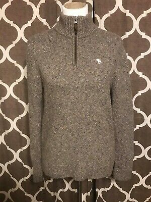 Abercrombie & Fitch Men's Half Zip Pullover Sweater Gray Size Medium EUC