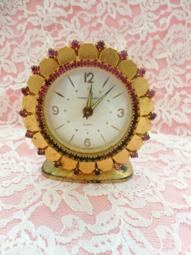 VINTAGE PINK RHINESTONE JEWELED CLOCK HOLLYWOOD GLAM COTTAGE CHIC TLC REPAIR
