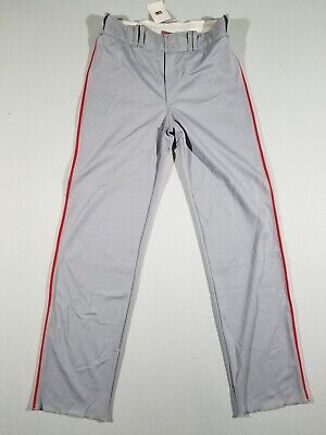 - NIKE Mens Phenom Players Baseball Pants | Grey w/Red Piping | Large | 319725 NWT