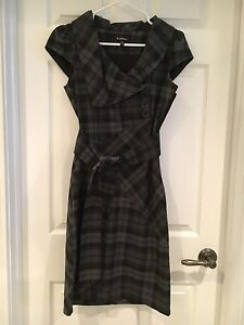 le chateau black tartan dress