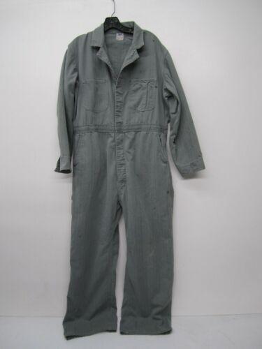 Vtg Lee Union Alls Sanforized Herringbone Cotton Coveralls Jumpsuit Button-up