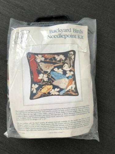 "Its Polite to Point "" Backyard Birds"" Dogwood Blossoms Needlepoint Kit 12"" x 12"""