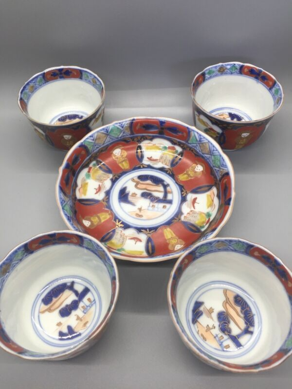 Antique Japanese Imari Painted Set of Four Cups and One Bowl Signed