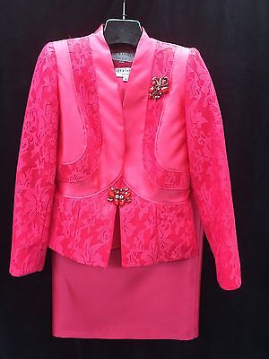 """LILY&TAYLOR SKIRT SUIT/CORAL/SIZE 20/SKIRT LENGTH 34""""/LINED/RETAIL$399/NEW W TAG"""