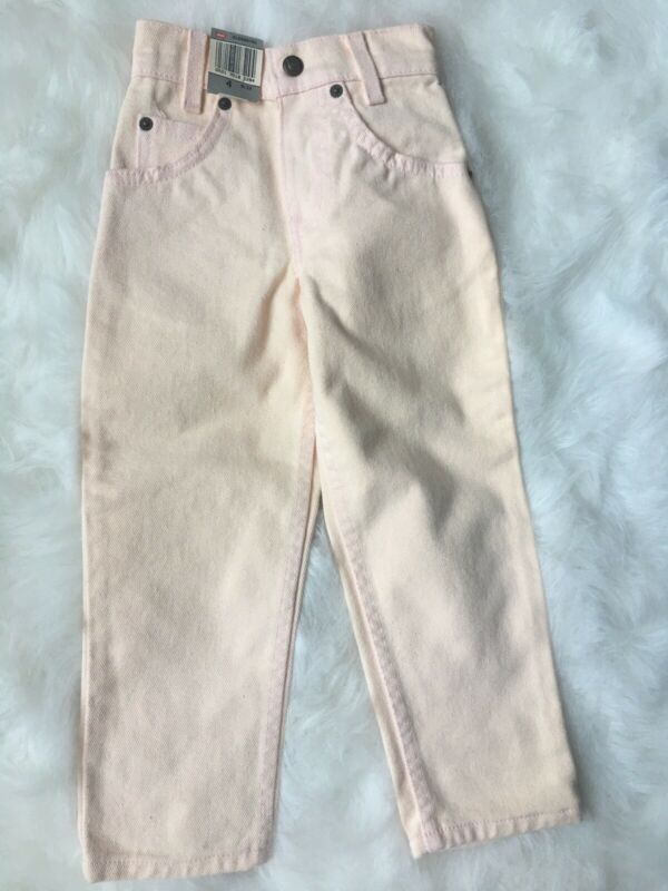 Little LEVIS slim 4 orange tab Vtg 80s Light Pink Denim Jeans Boys/girls New