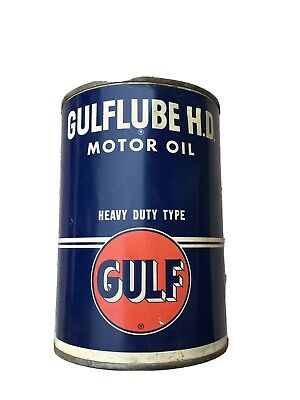 Vintage Gulf Lube H.D. Motor Oil Heavy Duty Type 1 quart can 10W FULL RARE!!
