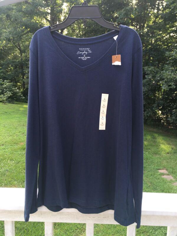 SONOMA Life+Style Everyday Tee Womens L Long Sleeve T-shirt V-neck Navy Blue NEW