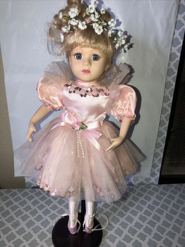 Vintage The Brass key inc. Ballerina Doll Dancer With Stand Porcelain BEAUTIFUL!
