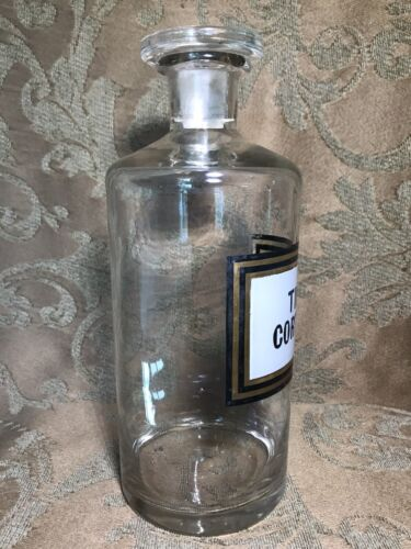 8 Antique APOTHECARY GLASS TINCTURE BOTTLE JAR ENAMEL LABEL TINCT CORT AUR  - $40.00