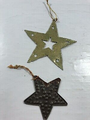 Set of 2 Star Tree Holiday Ornament Decoration Metal Rustic Country Cabin Decor