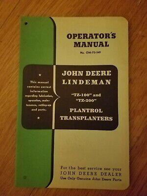 John Deere Lindeman Operators Manual- Tz-100 And Tz-200 Plantrol Transplanters