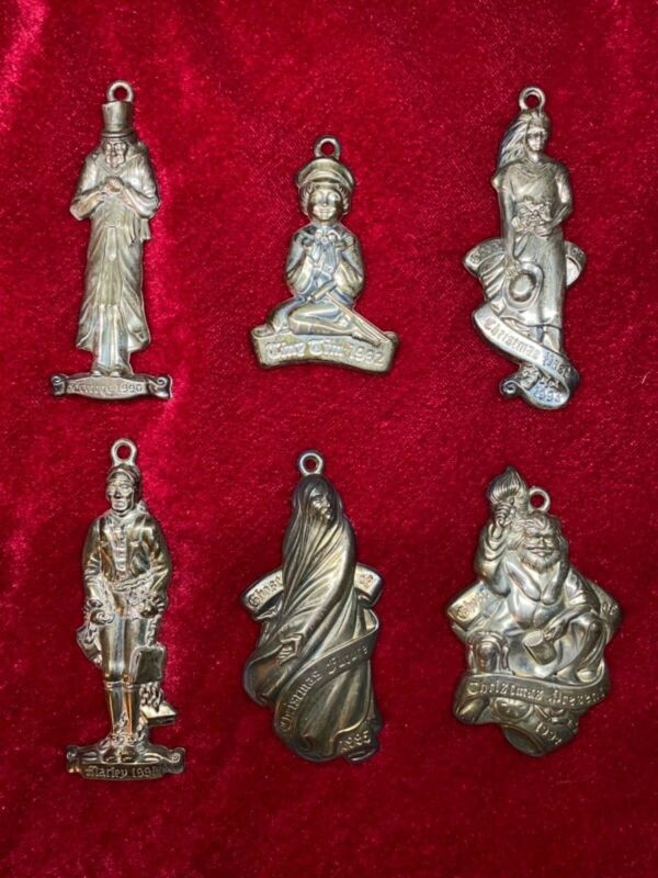 A Christmas Carol 6 Piece Sterling Silver Ornaments Oneida 1990 - 1995