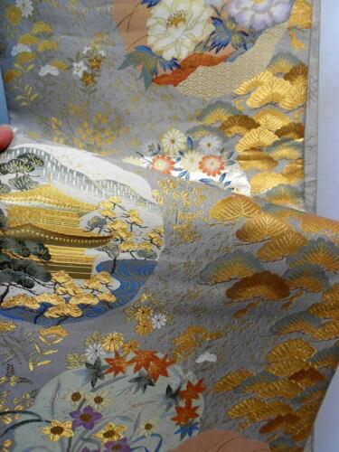 "Japanese Kimono SILK Fukuro OBI, Rokutu ,Gold thread/foil,Plants,Pine,L170"".1664"