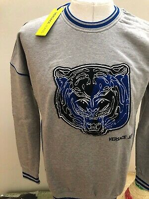 SALE Versace Jeans, Embroidery Tiger Motif on Grey and Blue Tracksuit Medium