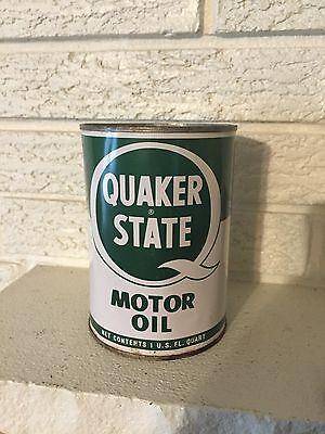 Vintage Quaker State Motor Oil Tin Quart Can Unopened Oil City Pennsylvania