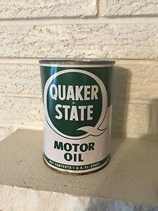 Vintage Quaker State Motor Oil Tin Quart Can Unopened Oil
