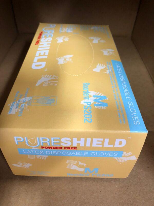 Pureshield Latex Gloves, Powder-Free, MEDIUM Natural Rubber Gloves 100/Box