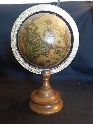 Old Vintage Wood Desktop Spinning Globe, World Globe, Wood Base, Nautical 11