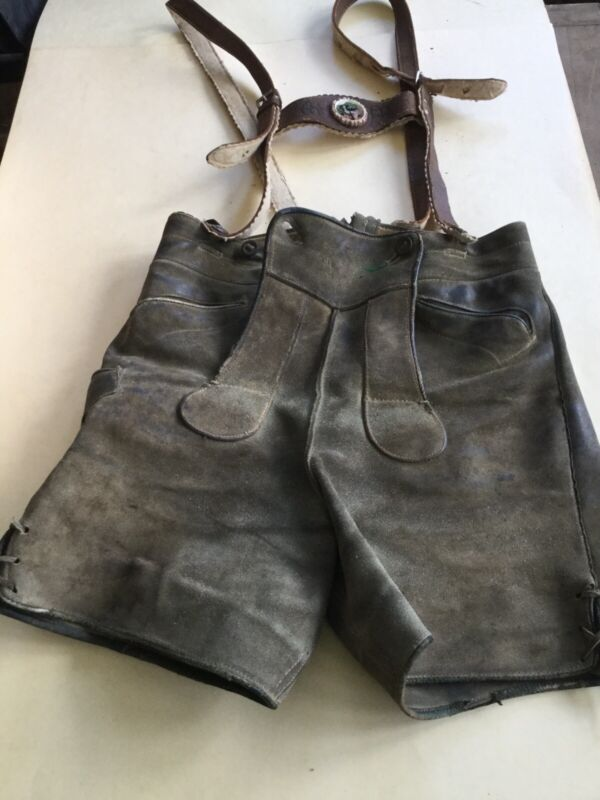 VINTAGE LEDERHOSEN LEATHER SUEDE SHORTS PANTS GERMAN BAVARIAN  Size 32