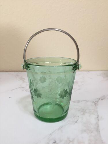 Rare Fostoria Green Fairfax Etched Sugar Pail with Handle