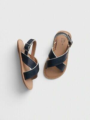 Girls Navy Sandals (NEW - Girls Baby Gap GAP Cross Strap Navy Sandals Shoes - Toddler Size)