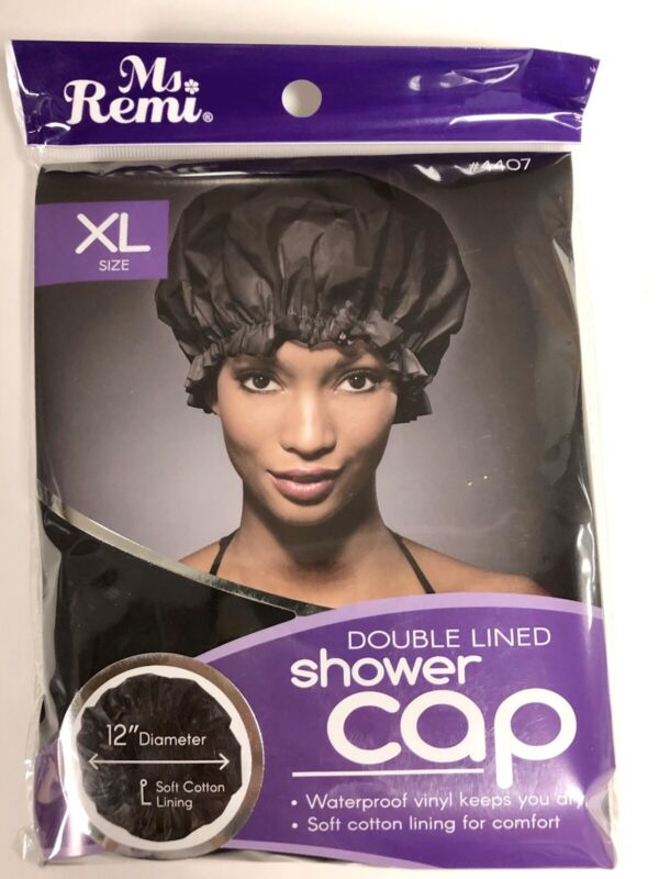 NEW MS. REMI DOUBLE-LINED SHOWER CAP #4407 BLACK XL SIZE ONE SIZE FITS MOST