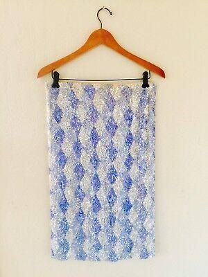 VTG 50's Bombshell Diamond Harlequin Print Sequins Wiggle Pencil Skirt S-M