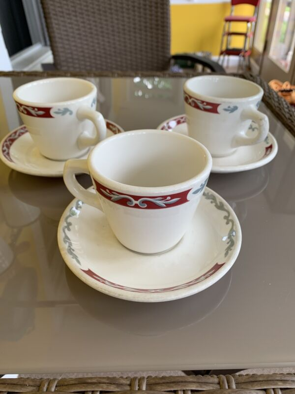 Set Of 3 Vintage Syracuse China Embassy Pattern Cup And Saucers Restaurant Ware