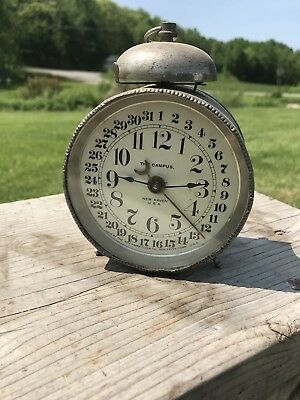 Rare Stunning The Campus Alarm Clock, New Haven Clock, Day Hour Minute, Metal