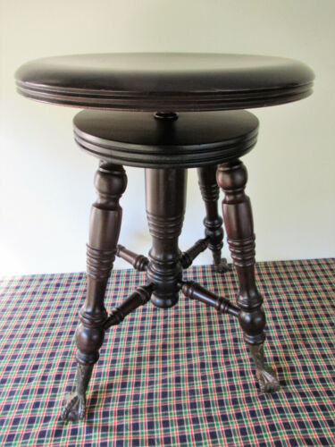 Antique Piano Stool Rosewood LYON & HEALY Victorian Chicago IL, Claw Glass Feet