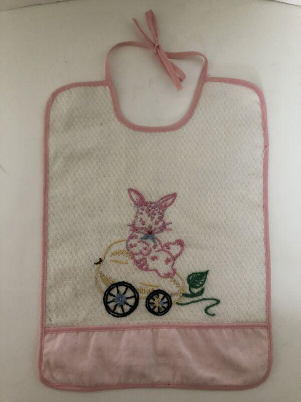 Vintage Handmade Hand Embroidered Baby Bib with Bunny, CHARMING
