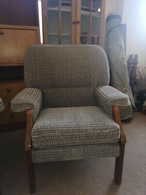 Mid Century Wooden Frame Blue Fabric Comfortable Armchair- 2 available
