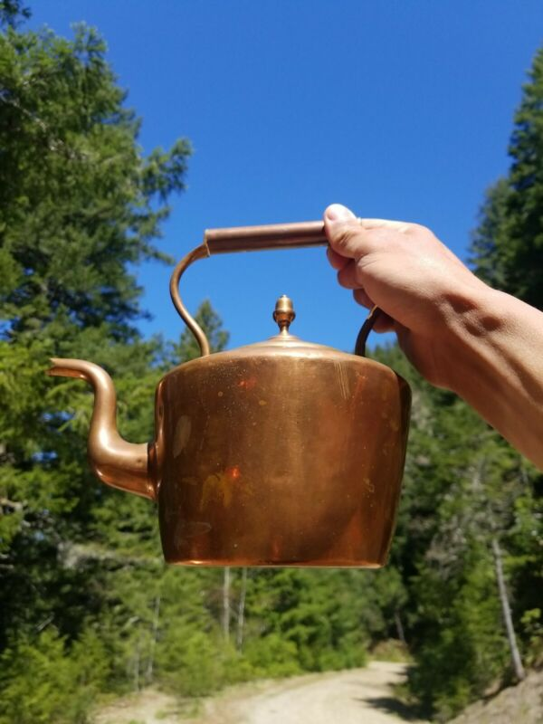 Antique Handmade French Copper Tea Kettle  - Beautiful Old Burgundy Tea Pot !