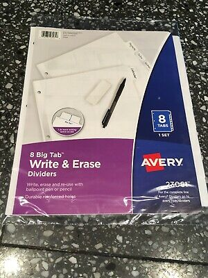 Avery 8 Big Tab Write Erase Dividers Nip White 1 Set 8 Tabs Reinforced Holes