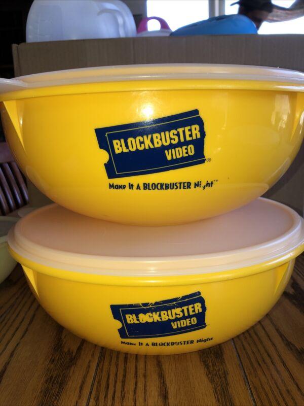 2 Tupperware Blockbuster Video Bowls!  Yellow 26 Cup Popcorn Vintage 1990