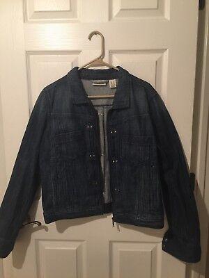 DKNY Blue Jean Denim Jacket Zip Up Sz XL NWOT Dress Up Trendy Tailored Fit](Trendy Dress Up)