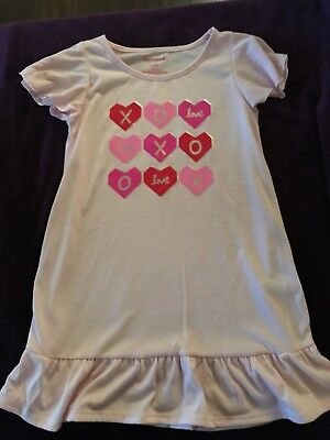 Pink Nightgown Girls (Cat & Jack Girls Pink Hearts Valentine's Day Nightgown Small (6/6X))